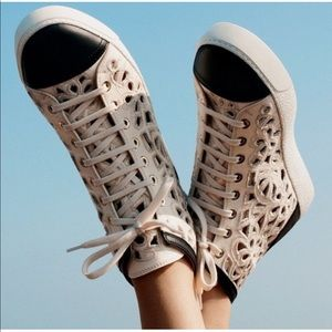CHANEL Camellia Laser cut high tops